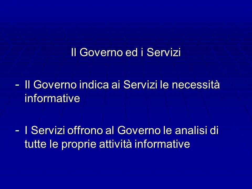 Il Governo ed i Servizi - Il Governo indica ai Servizi le necessità informative - I Servizi offrono al Governo le analisi di tutte le proprie attività