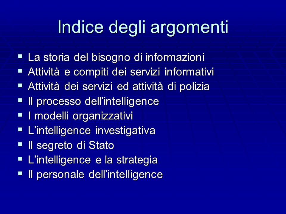 Indice degli argomenti La storia del bisogno di informazioni La storia del bisogno di informazioni Attività e compiti dei servizi informativi Attività