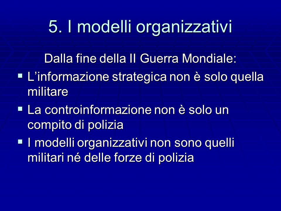 5. I modelli organizzativi Dalla fine della II Guerra Mondiale: Linformazione strategica non è solo quella militare Linformazione strategica non è sol