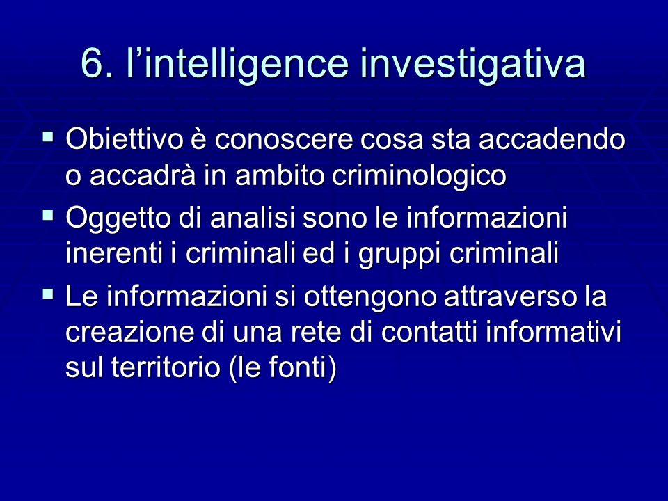 6. lintelligence investigativa Obiettivo è conoscere cosa sta accadendo o accadrà in ambito criminologico Obiettivo è conoscere cosa sta accadendo o a