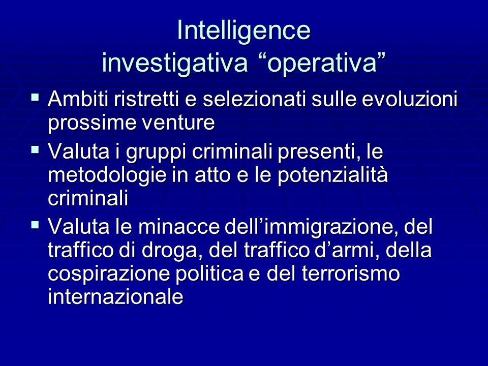 Intelligence investigativa operativa Ambiti ristretti e selezionati sulle evoluzioni prossime venture Ambiti ristretti e selezionati sulle evoluzioni
