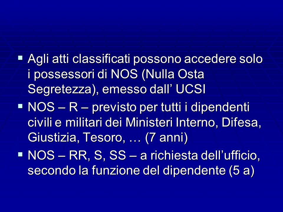 Agli atti classificati possono accedere solo i possessori di NOS (Nulla Osta Segretezza), emesso dall UCSI Agli atti classificati possono accedere sol