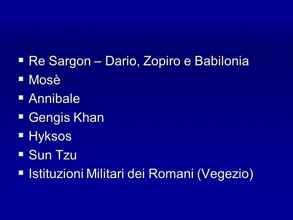 Re Sargon – Dario, Zopiro e Babilonia Re Sargon – Dario, Zopiro e Babilonia Mosè Mosè Annibale Annibale Gengis Khan Gengis Khan Hyksos Hyksos Sun Tzu