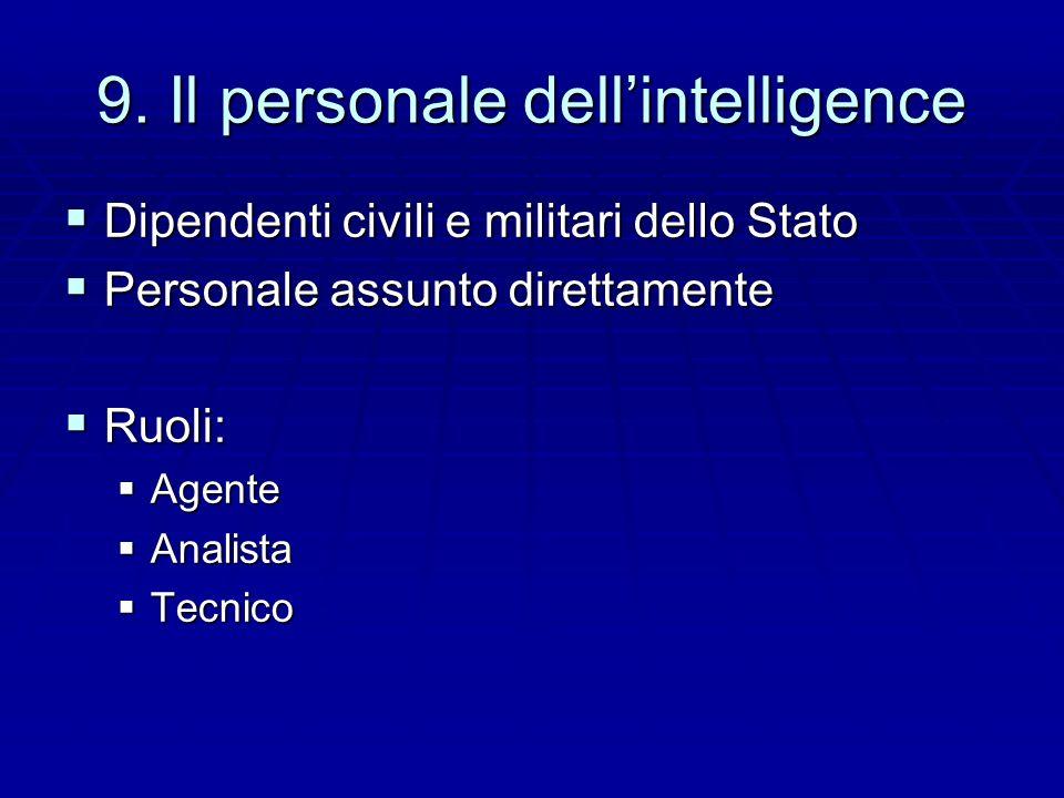 9. Il personale dellintelligence Dipendenti civili e militari dello Stato Dipendenti civili e militari dello Stato Personale assunto direttamente Pers