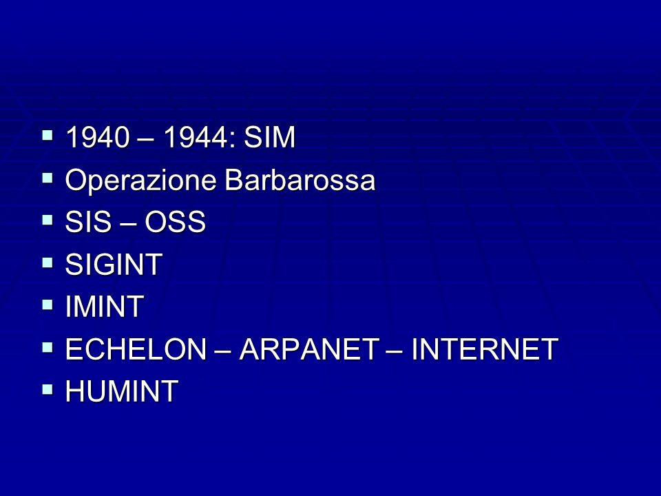 1940 – 1944: SIM 1940 – 1944: SIM Operazione Barbarossa Operazione Barbarossa SIS – OSS SIS – OSS SIGINT SIGINT IMINT IMINT ECHELON – ARPANET – INTERN