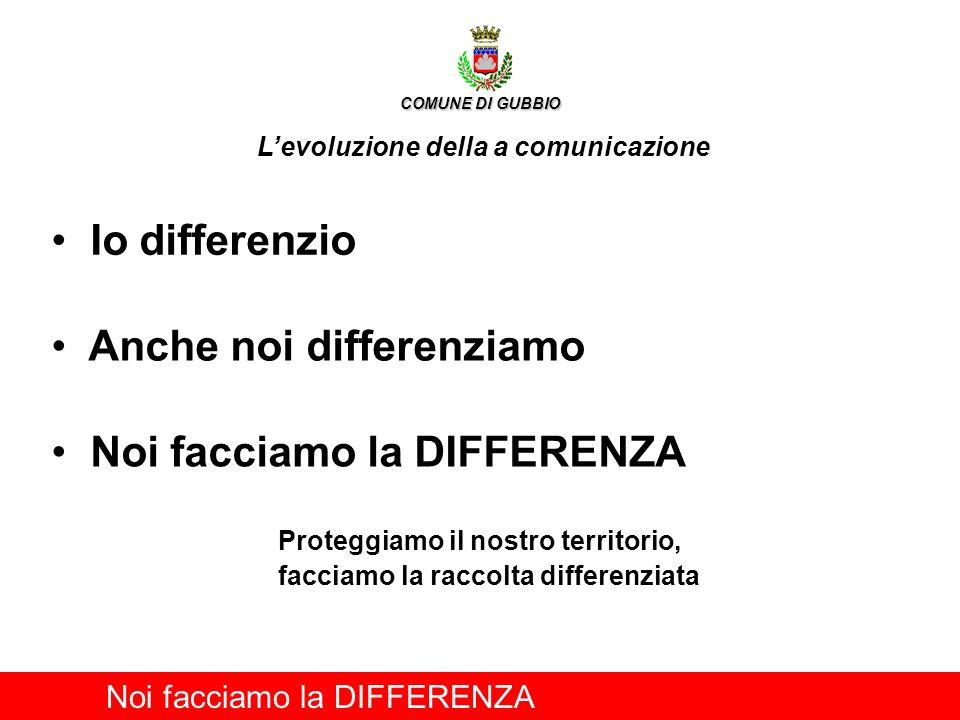 Io differenzio Noi facciamo la DIFFERENZA COMUNE DI GUBBIO Levoluzione della a comunicazione Anche noi differenziamo Noi facciamo la DIFFERENZA Proteg