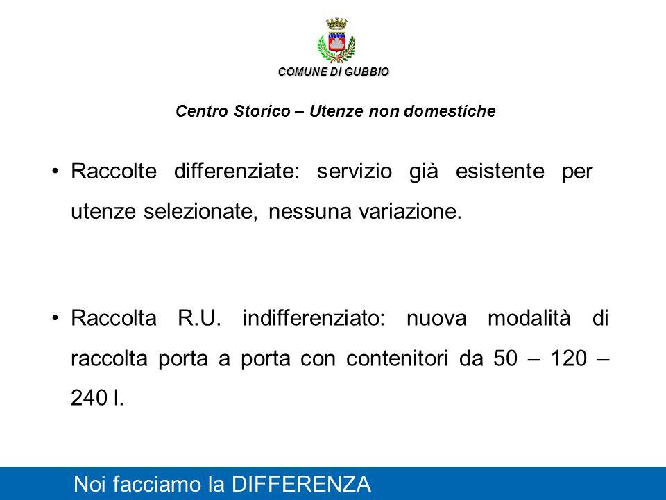 COMUNE DI GUBBIO Centro Storico – Utenze non domestiche Noi facciamo la DIFFERENZA Raccolte differenziate: servizio già esistente per utenze seleziona