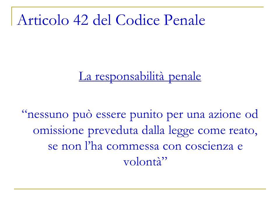 Articolo 42 del Codice Penale La responsabilità penale nessuno può essere punito per una azione od omissione preveduta dalla legge come reato, se non