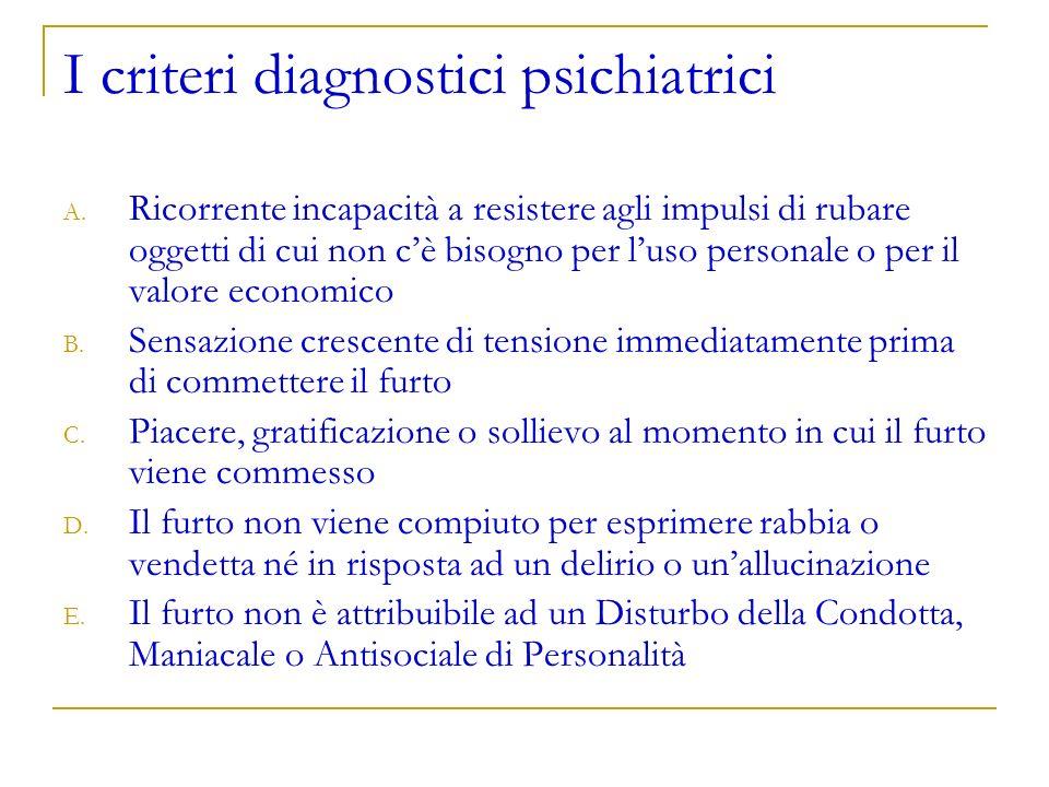I criteri diagnostici psichiatrici A. Ricorrente incapacità a resistere agli impulsi di rubare oggetti di cui non cè bisogno per luso personale o per