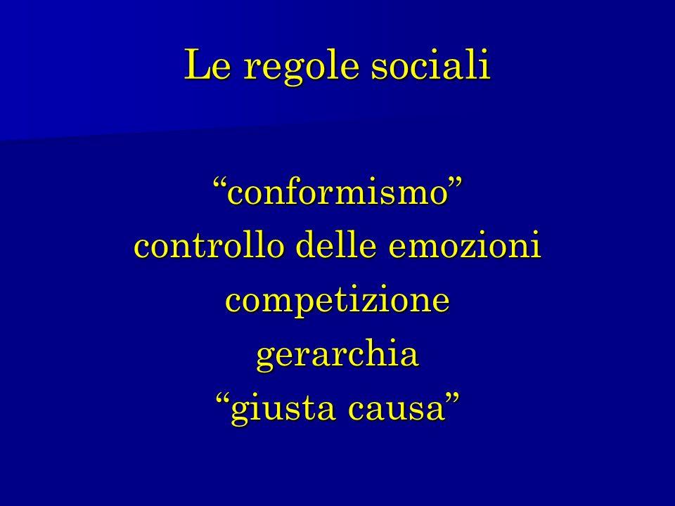 Le regole sociali conformismo controllo delle emozioni competizionegerarchia giusta causa