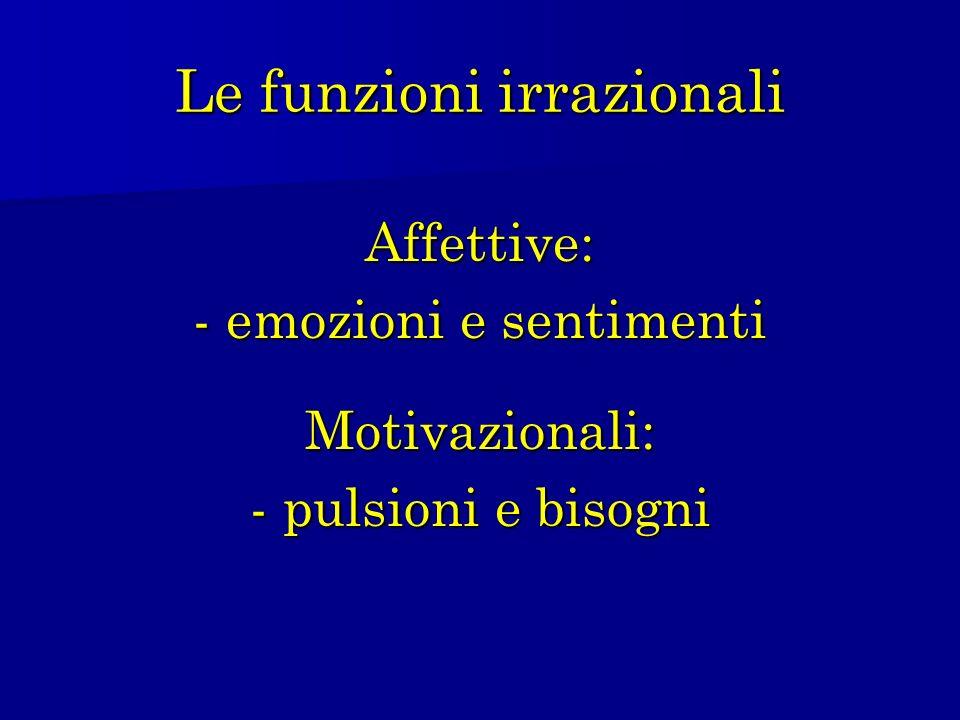 Le funzioni irrazionali Affettive: - emozioni e sentimenti Motivazionali: - pulsioni e bisogni