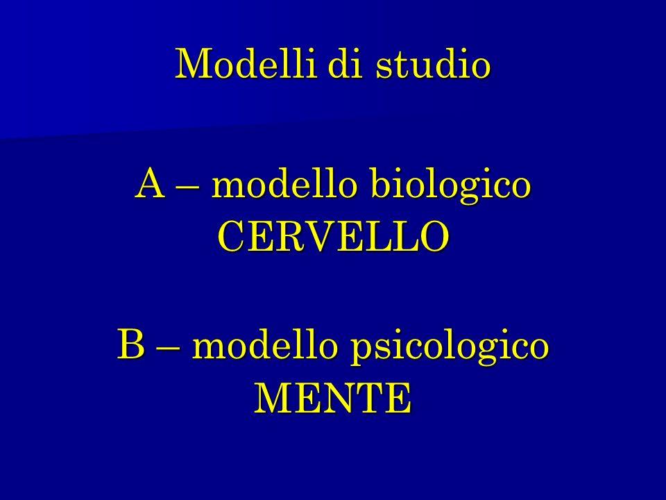 Modelli di studio A – modello biologico CERVELLO B – modello psicologico MENTE