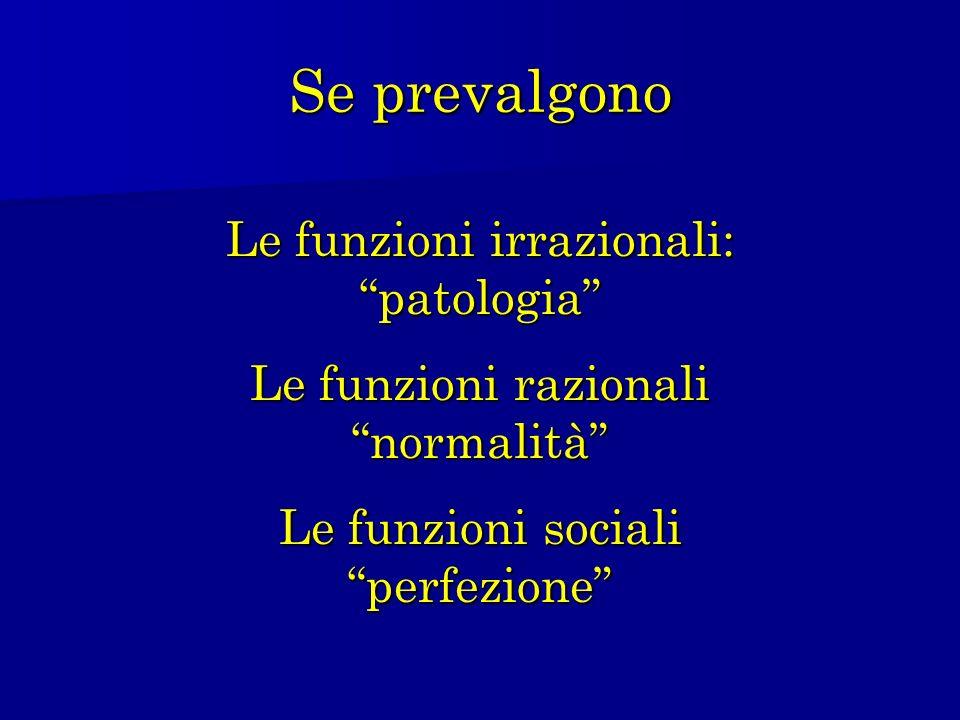 Se prevalgono Le funzioni irrazionali: patologia Le funzioni razionali normalità Le funzioni sociali perfezione