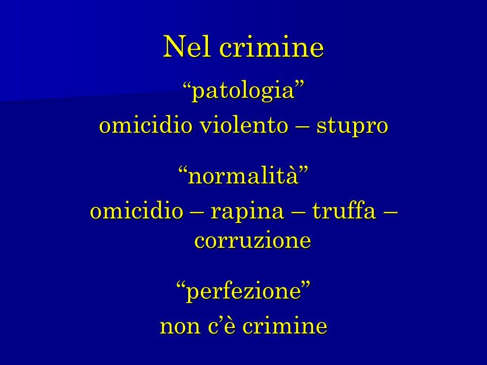 Nel crimine patologia patologia omicidio violento – stupro normalità omicidio – rapina – truffa – corruzione perfezione non cè crimine