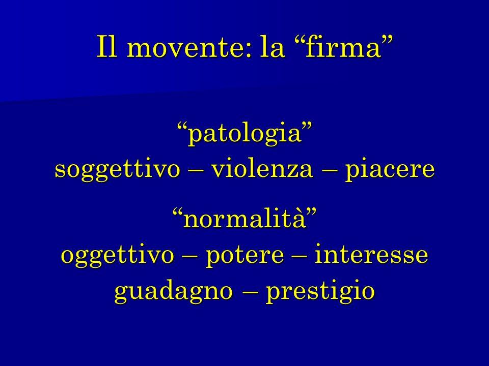 Il movente: la firma patologia soggettivo – violenza – piacere normalità oggettivo – potere – interesse guadagno – prestigio