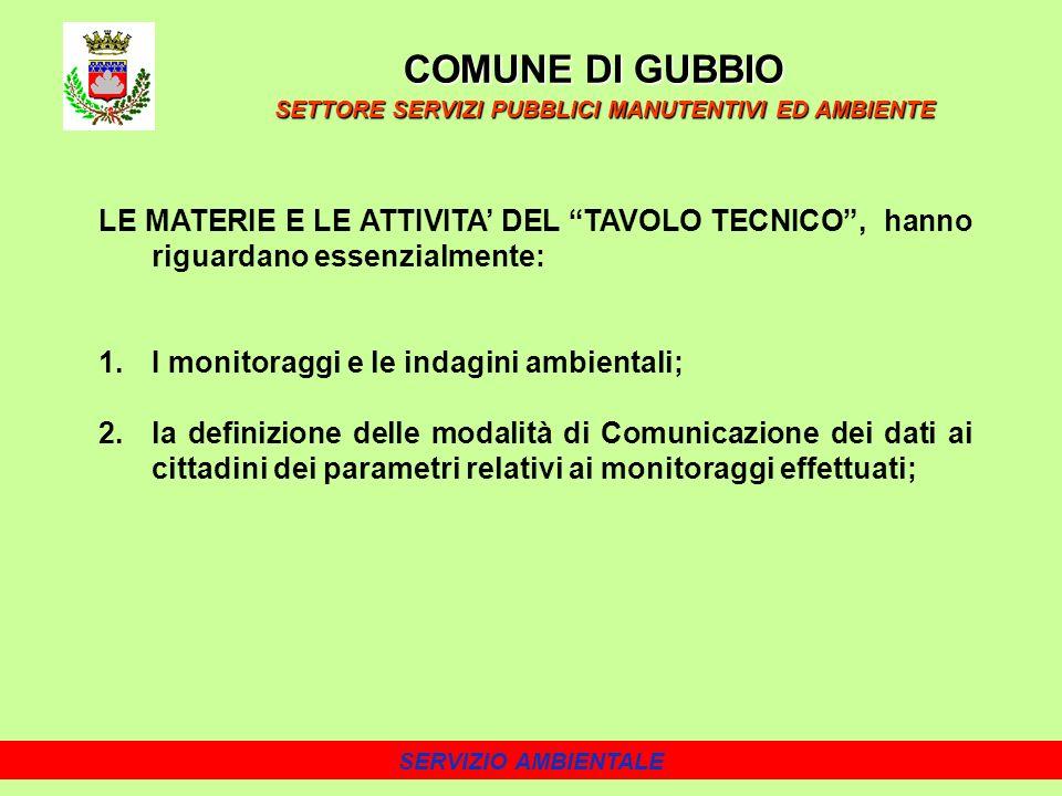 SERVIZIO AMBIENTALE LE MATERIE E LE ATTIVITA DEL TAVOLO TECNICO, hanno riguardano essenzialmente: 1.I monitoraggi e le indagini ambientali; 2.