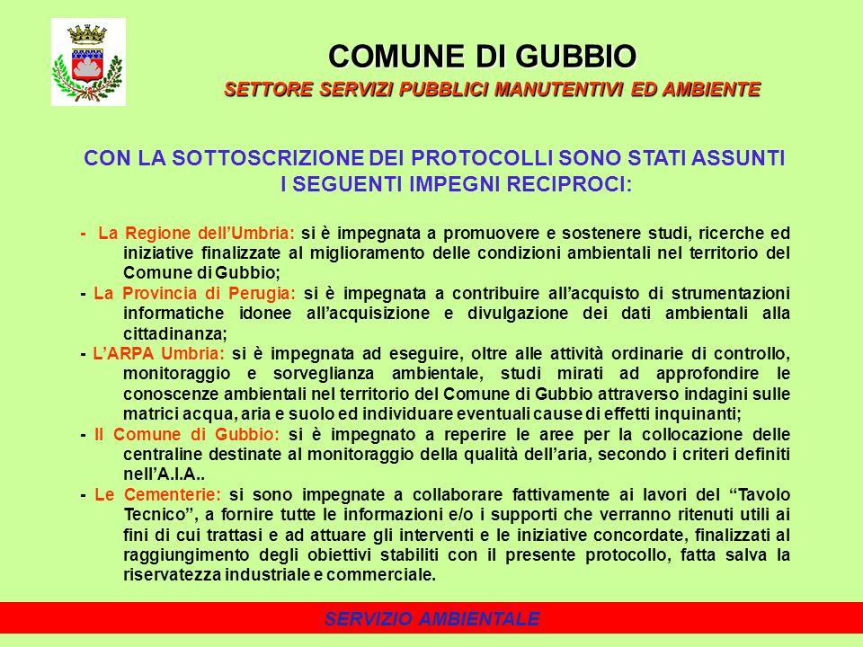 SERVIZIO AMBIENTALE CON LA SOTTOSCRIZIONE DEI PROTOCOLLI SONO STATI ASSUNTI I SEGUENTI IMPEGNI RECIPROCI: - La Regione dellUmbria: si è impegnata a promuovere e sostenere studi, ricerche ed iniziative finalizzate al miglioramento delle condizioni ambientali nel territorio del Comune di Gubbio; - La Provincia di Perugia: si è impegnata a contribuire allacquisto di strumentazioni informatiche idonee allacquisizione e divulgazione dei dati ambientali alla cittadinanza; - LARPA Umbria: si è impegnata ad eseguire, oltre alle attività ordinarie di controllo, monitoraggio e sorveglianza ambientale, studi mirati ad approfondire le conoscenze ambientali nel territorio del Comune di Gubbio attraverso indagini sulle matrici acqua, aria e suolo ed individuare eventuali cause di effetti inquinanti; - Il Comune di Gubbio: si è impegnato a reperire le aree per la collocazione delle centraline destinate al monitoraggio della qualità dellaria, secondo i criteri definiti nellA.I.A..