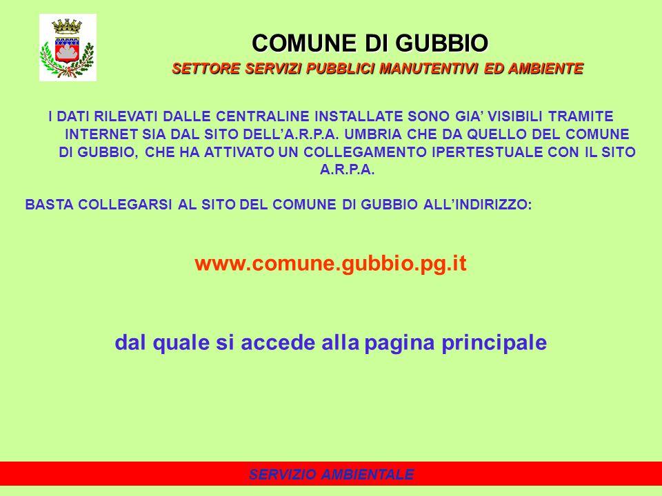 SERVIZIO AMBIENTALE I DATI RILEVATI DALLE CENTRALINE INSTALLATE SONO GIA VISIBILI TRAMITE INTERNET SIA DAL SITO DELLA.R.P.A.