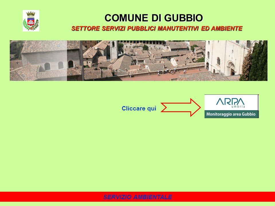 SERVIZIO AMBIENTALE COMUNE DI GUBBIO SETTORE SERVIZI PUBBLICI MANUTENTIVI ED AMBIENTE Cliccare quì