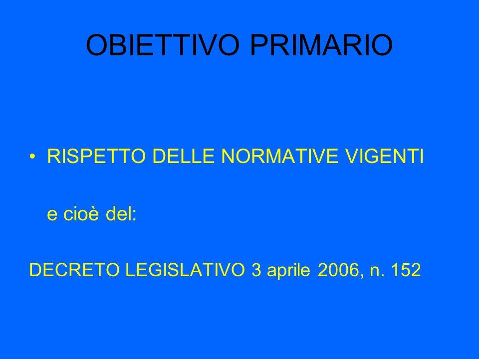 OBIETTIVO PRIMARIO RISPETTO DELLE NORMATIVE VIGENTI e cioè del: DECRETO LEGISLATIVO 3 aprile 2006, n.