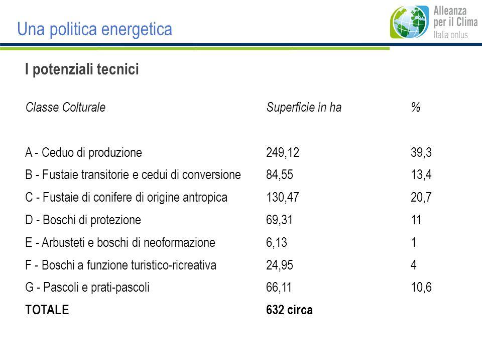 Una politica energetica I potenziali tecnici Classe ColturaleSuperficie in ha% A - Ceduo di produzione249,1239,3 B - Fustaie transitorie e cedui di co
