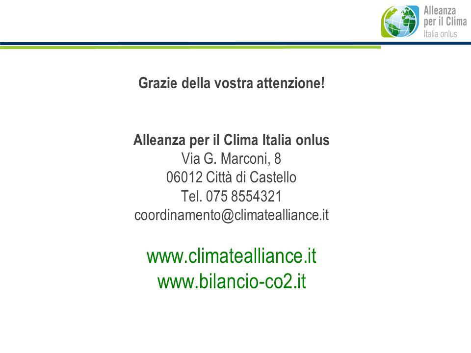 Grazie della vostra attenzione! Alleanza per il Clima Italia onlus Via G. Marconi, 8 06012 Città di Castello Tel. 075 8554321 coordinamento@climateall