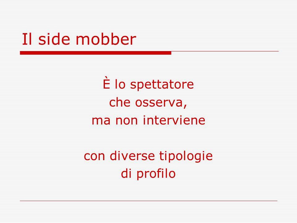 Il side mobber È lo spettatore che osserva, ma non interviene con diverse tipologie di profilo