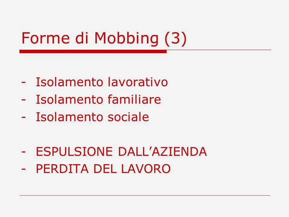 Forme di Mobbing (3) -Isolamento lavorativo -Isolamento familiare -Isolamento sociale -ESPULSIONE DALLAZIENDA -PERDITA DEL LAVORO