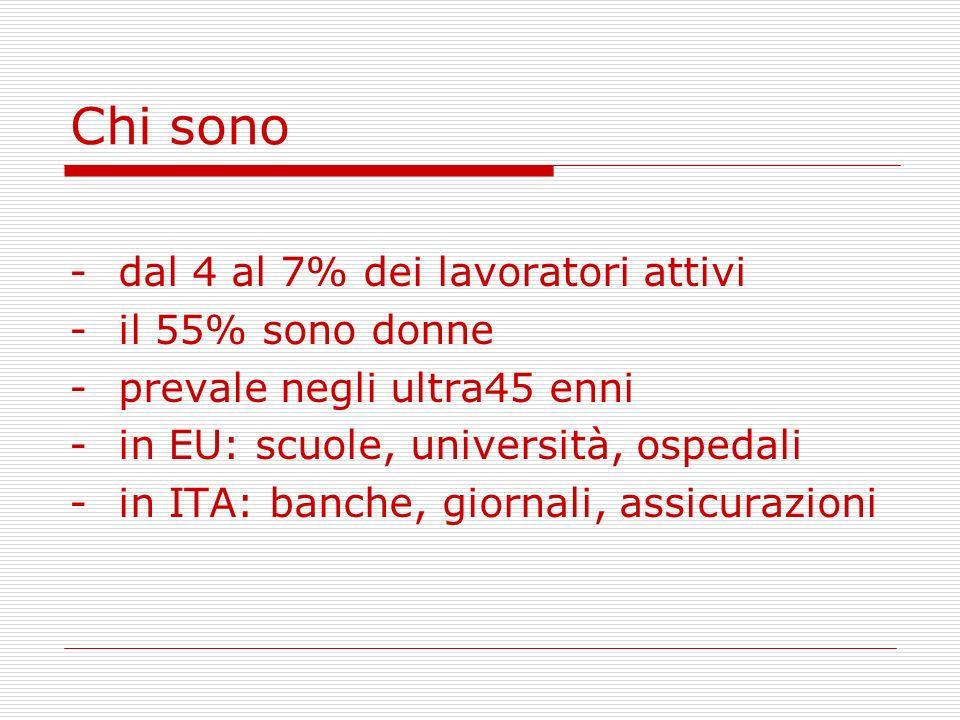 Chi sono -dal 4 al 7% dei lavoratori attivi -il 55% sono donne -prevale negli ultra45 enni -in EU: scuole, università, ospedali -in ITA: banche, giorn