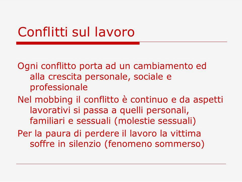 Conflitti sul lavoro Ogni conflitto porta ad un cambiamento ed alla crescita personale, sociale e professionale Nel mobbing il conflitto è continuo e
