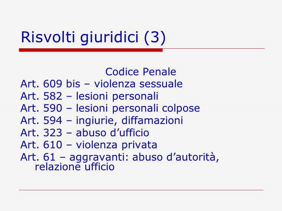 Risvolti giuridici (3) Codice Penale Art. 609 bis – violenza sessuale Art. 582 – lesioni personali Art. 590 – lesioni personali colpose Art. 594 – ing