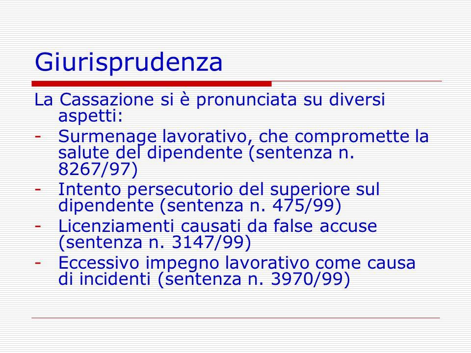 Giurisprudenza La Cassazione si è pronunciata su diversi aspetti: -Surmenage lavorativo, che compromette la salute del dipendente (sentenza n. 8267/97