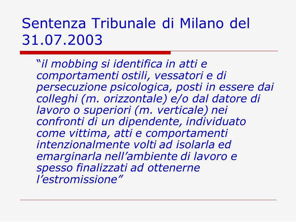 Sentenza Tribunale di Milano del 31.07.2003 il mobbing si identifica in atti e comportamenti ostili, vessatori e di persecuzione psicologica, posti in