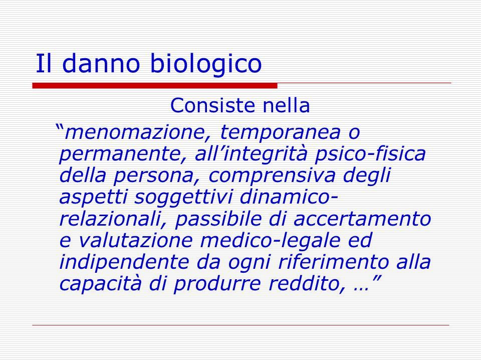Il danno biologico Consiste nella menomazione, temporanea o permanente, allintegrità psico-fisica della persona, comprensiva degli aspetti soggettivi