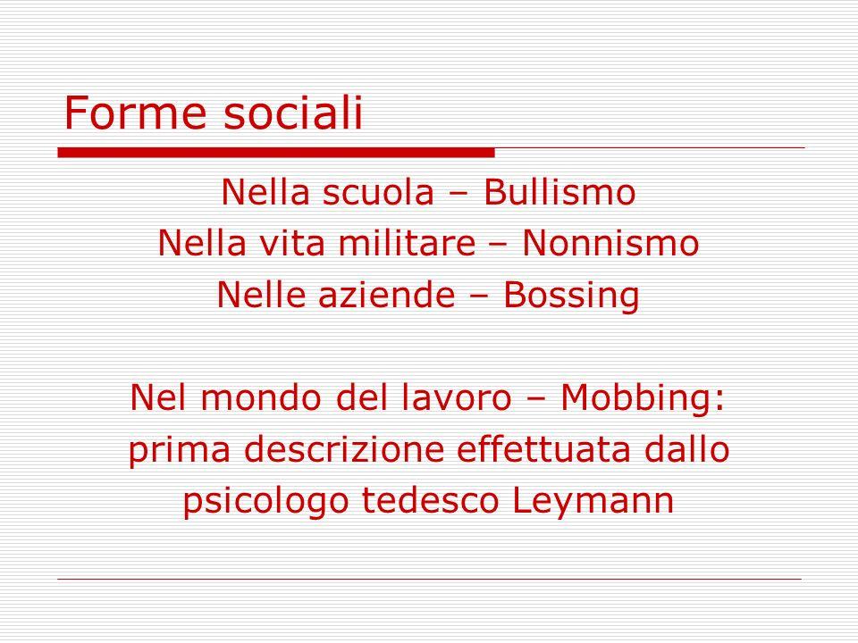 Forme sociali Nella scuola – Bullismo Nella vita militare – Nonnismo Nelle aziende – Bossing Nel mondo del lavoro – Mobbing: prima descrizione effettu
