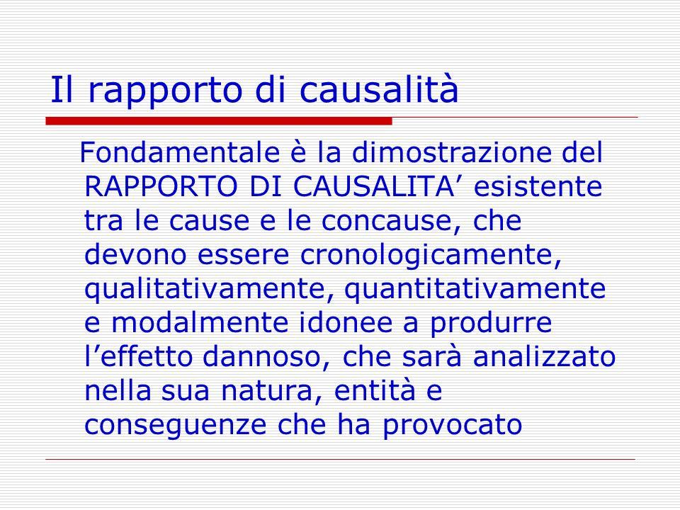 Il rapporto di causalità Fondamentale è la dimostrazione del RAPPORTO DI CAUSALITA esistente tra le cause e le concause, che devono essere cronologica