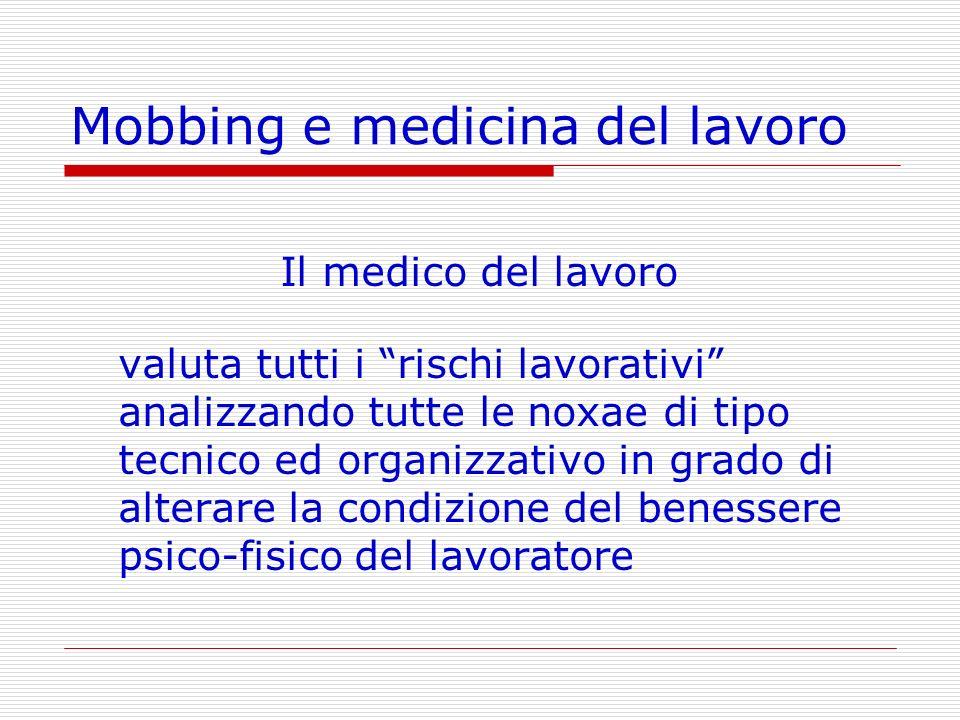 Mobbing e medicina del lavoro Il medico del lavoro valuta tutti i rischi lavorativi analizzando tutte le noxae di tipo tecnico ed organizzativo in gra