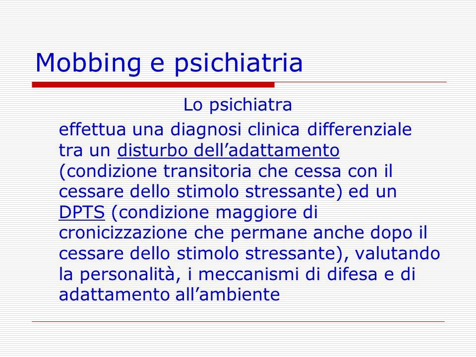Mobbing e psichiatria Lo psichiatra effettua una diagnosi clinica differenziale tra un disturbo delladattamento (condizione transitoria che cessa con