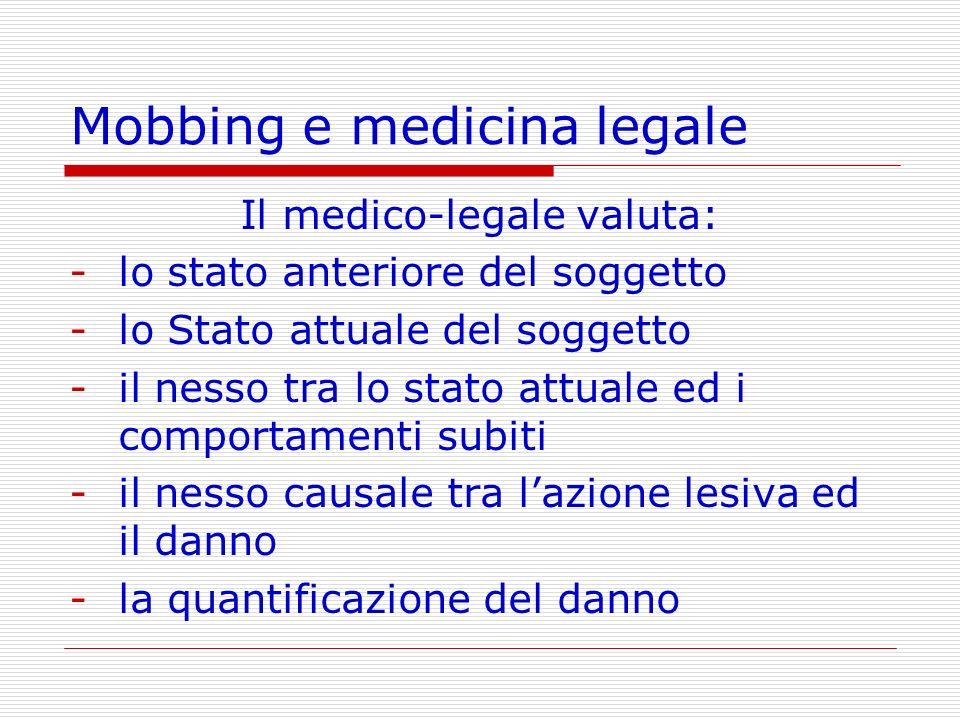 Mobbing e medicina legale Il medico-legale valuta: -lo stato anteriore del soggetto -lo Stato attuale del soggetto -il nesso tra lo stato attuale ed i