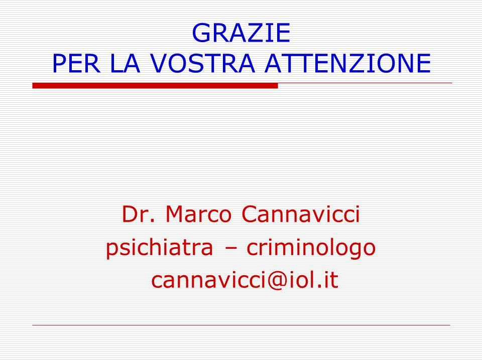 GRAZIE PER LA VOSTRA ATTENZIONE Dr. Marco Cannavicci psichiatra – criminologo cannavicci@iol.it