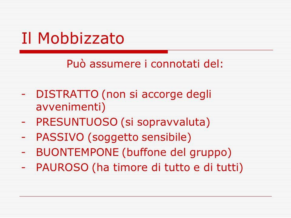 Il Mobbizzato Può assumere i connotati del: -DISTRATTO (non si accorge degli avvenimenti) -PRESUNTUOSO (si sopravvaluta) -PASSIVO (soggetto sensibile)