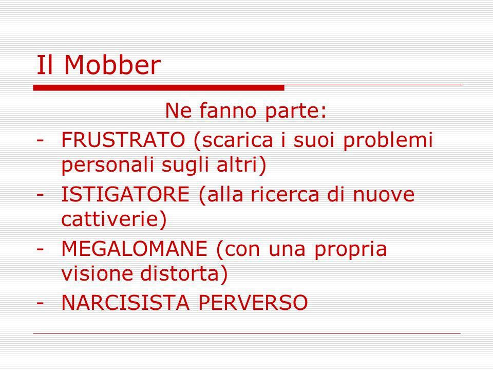 Il Mobber Ne fanno parte: -FRUSTRATO (scarica i suoi problemi personali sugli altri) -ISTIGATORE (alla ricerca di nuove cattiverie) -MEGALOMANE (con u