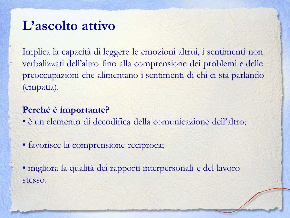 Lascolto attivo Implica la capacità di leggere le emozioni altrui, i sentimenti non verbalizzati dellaltro fino alla comprensione dei problemi e delle