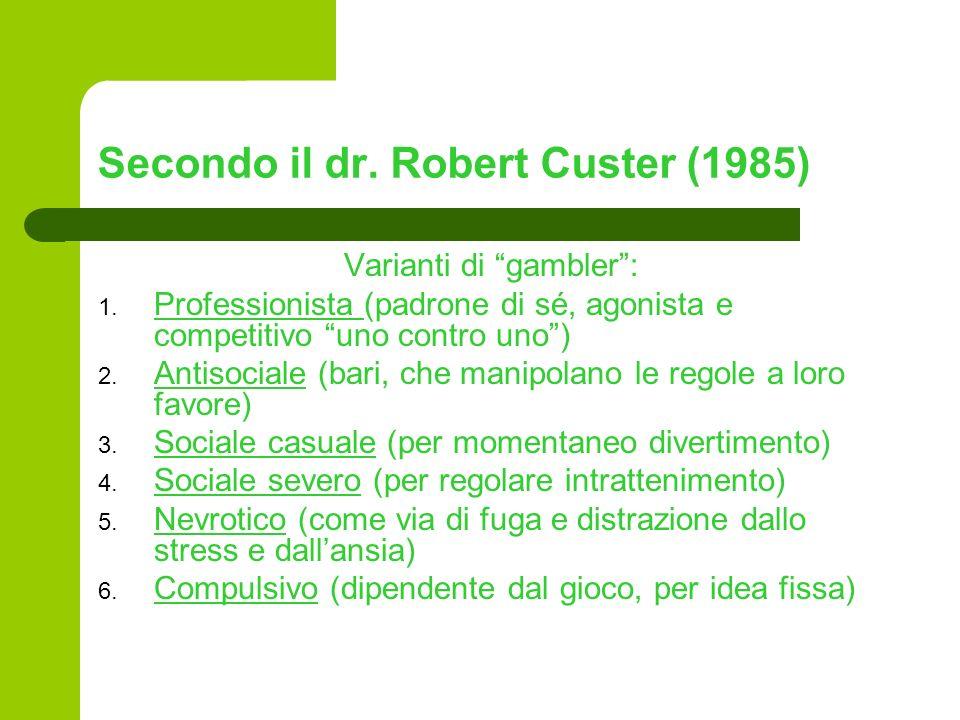 Secondo il dr. Robert Custer (1985) Varianti di gambler: 1. Professionista (padrone di sé, agonista e competitivo uno contro uno) 2. Antisociale (bari