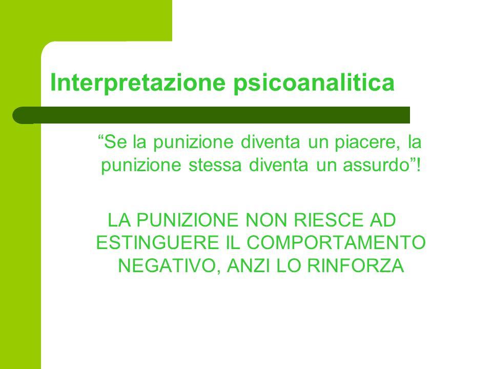 Interpretazione psicoanalitica Se la punizione diventa un piacere, la punizione stessa diventa un assurdo! LA PUNIZIONE NON RIESCE AD ESTINGUERE IL CO