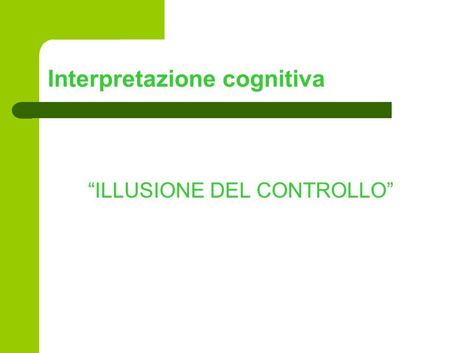 Interpretazione cognitiva ILLUSIONE DEL CONTROLLO