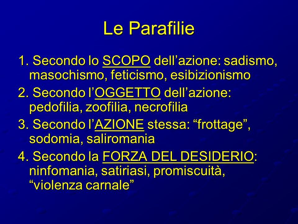 Le Parafilie 1. Secondo lo SCOPO dellazione: sadismo, masochismo, feticismo, esibizionismo 2. Secondo lOGGETTO dellazione: pedofilia, zoofilia, necrof