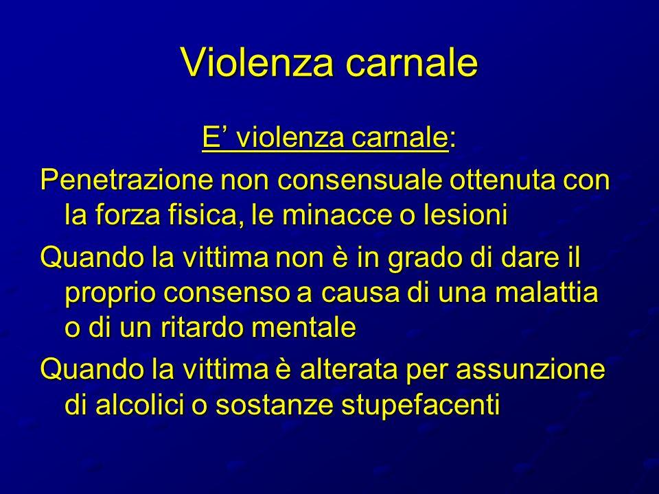 Violenza carnale E violenza carnale: Penetrazione non consensuale ottenuta con la forza fisica, le minacce o lesioni Quando la vittima non è in grado