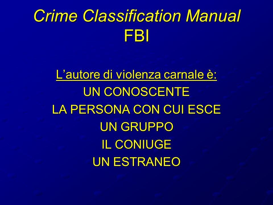 Crime Classification Manual FBI Lautore di violenza carnale è: UN CONOSCENTE LA PERSONA CON CUI ESCE UN GRUPPO IL CONIUGE UN ESTRANEO