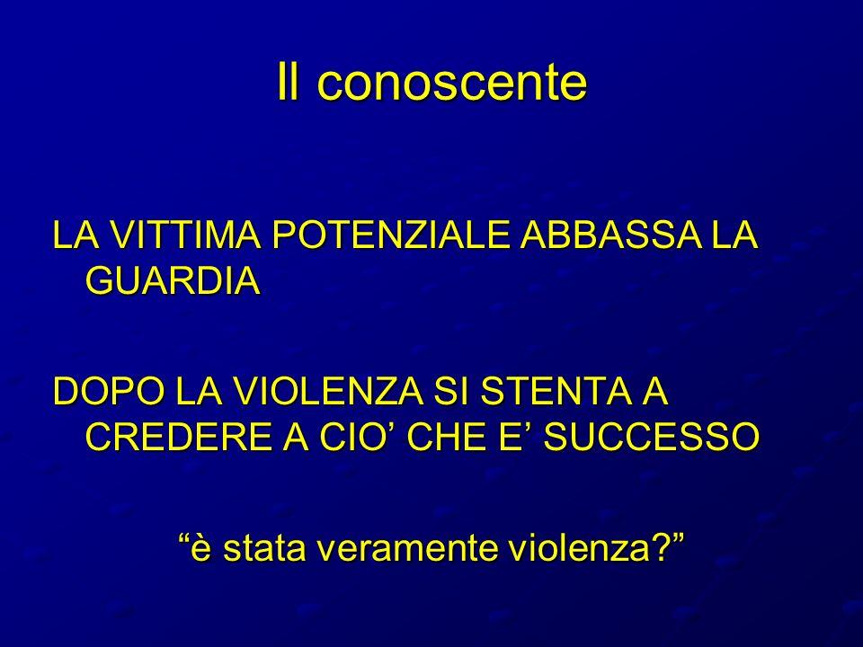 Il conoscente LA VITTIMA POTENZIALE ABBASSA LA GUARDIA DOPO LA VIOLENZA SI STENTA A CREDERE A CIO CHE E SUCCESSO è stata veramente violenza?